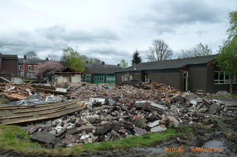 Photo of Oakbank Training Centre in Chadderton during demolition
